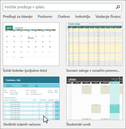Predloge programa Excel