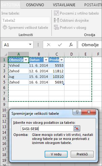 Spreminjanje velikosti tabele