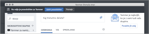 Posodobitve aplikacije Yammer