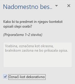 Podokno nadomestnega besedila v programu Word Win32 za okrasne elemente
