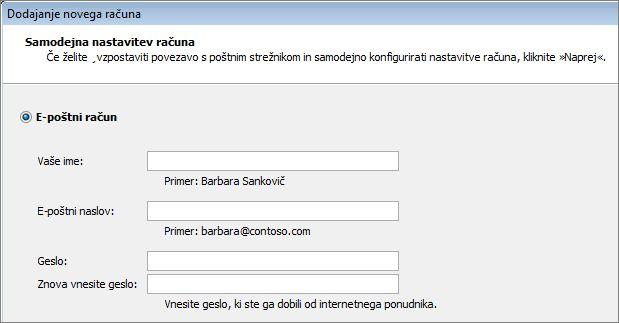 Dodajanje imena in e-poštnega naslova v programu Outlook 2010
