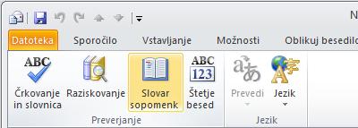Ikona slovarja sopomenk na Outlookovem traku
