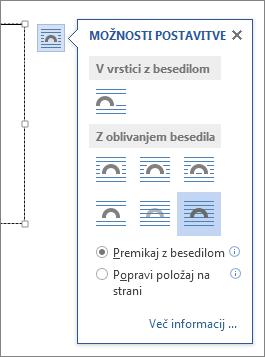 Možnosti postavitve polja z besedilom