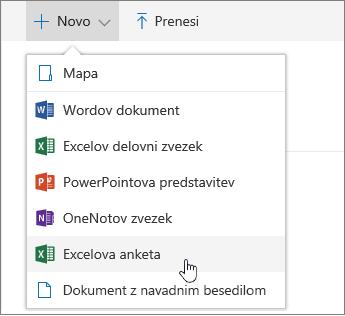 Meni »Novo «, ukaz za Excelovo anketo