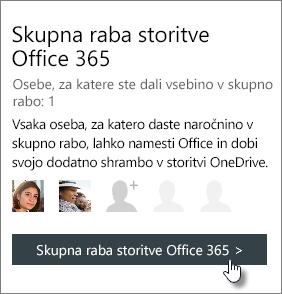 Posnetek zaslona odseka »Skupna raba storitve Office 365« na strani moj račun, ki prikazuje naročnino, ki je v skupni rabi z osebo, 1.