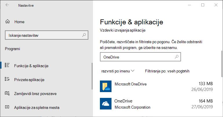 OneDrive v nastavitvah aplikacije za Windows