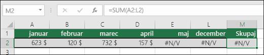 Primer napake #N/A v celicah, ki formuli SUM onemogoča pravilno računanje.