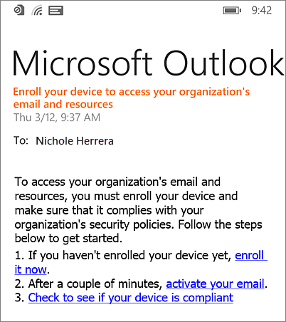 Enrollment email message on Windows Phone