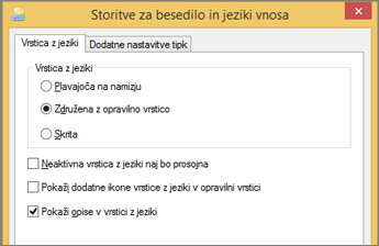 Besedilne storitve in jeziki za vnos v sistemu Office 2016 sistema Windows 8