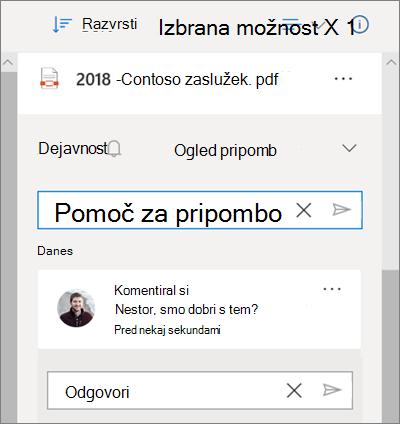 Podokno s podrobnostmi OneDrive, ki prikazuje pripombe, ki so na levi strani datoteke v skupni rabi, in polje za dodajanje pripombe