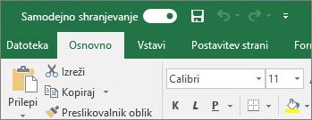 Naslovna vrstica v Excelu, ki prikazuje preklopni gumb za samodejno shranjevanje