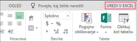 Gumb za urejanje v Excelu