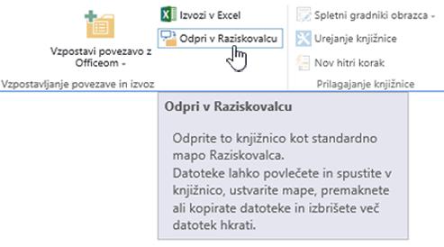 »Odpri v Raziskovalcu« strežnika SharePoint 2016 v brskalniku Internet Explorer 11