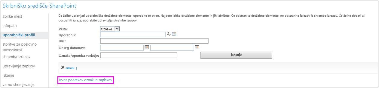Posnetek zaslona z označeno povezavo za izvoz