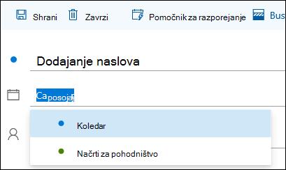 Posnetek zaslona imena koledarja v obliki podrobnosti dogodka