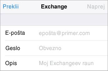 Prijava v Exchange