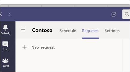 Zahtevanje časa v izmenah v aplikaciji Microsoft Teams