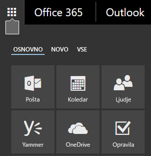 Office 365 app launcher showing the Mail, Calendar, People, Yammer, and OneDrive tiles