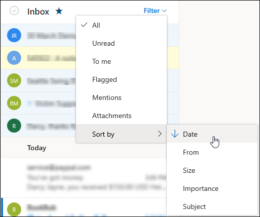 Posnetek zaslona menija »Filter« z izbrano možnostjo »Razvrsti po«