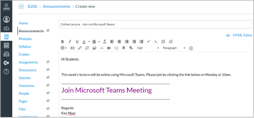 Povezava do aplikacije Microsoft Teams v spletnem mestu platna
