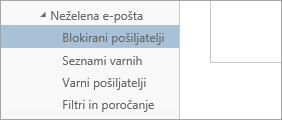 Posnetek zaslona blokiranih pošiljateljev v meniju možnosti
