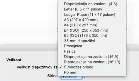 V pogovornem oknu» Priprava strani «je na voljo več vnaprej določenih možnosti velikosti diapozitiva