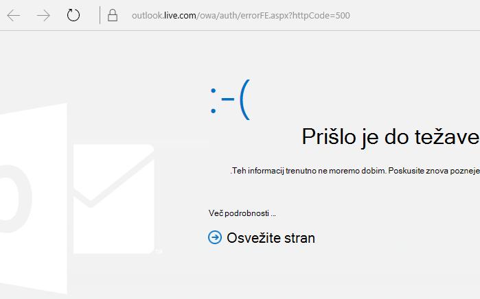 Koda napaki 500 »Prišlo je do neznane napake« v storitvi Outlook.com