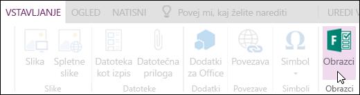 Možnost vstavljanja obrazcev v storitvi OneNote Online.