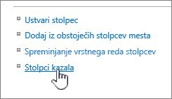 Indeksiranim stolpcem povezavo na strani Nastavitve seznama ali knjižnice