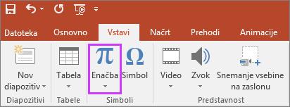 Pokaže gumb za vstavljanje enačb na traku v PowerPointu