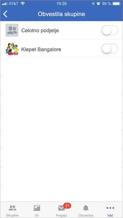 iOS stran storitve za izbiranje skupin za prejemanje obvestil o
