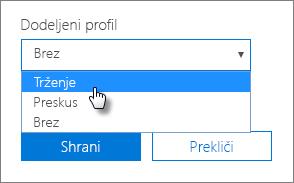V podoknu naprave izberite dodeljeni profil, če ga želite uporabiti.