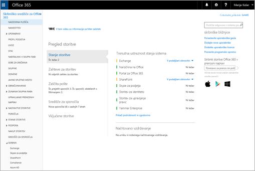 Primer videza Skrbniškega središča za Office 365, če imate paket Skype za podjetja Online.