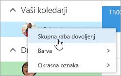 Posnetek zaslona s kontekstnim menijem »Vaš koledar« z izbrano možnostjo »Dovoljenja za skupno rabo.