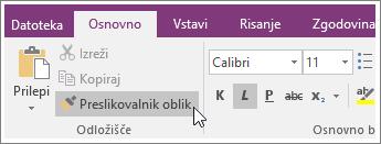 Posnetek zaslona gumba preslikovalnika oblik v programu OneNote 2016.
