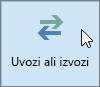 Na posnetku zaslona je prikazan gumb »Uvozi/izvozi« v programu Outlook 2016