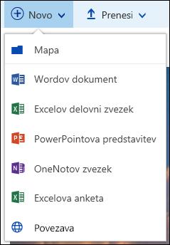 Ustvarjanje nove datoteke v knjižnici dokumentov v storitvi Office 365