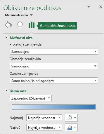 Excelov grafikon z zemljevidom – možnosti nizov v podoknu za nastavljanje lastnosti predmetov
