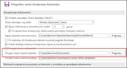 Možnosti shranjevanja v Wordu prikazujejo privzeto delujočo nastavitev mape