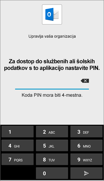 Nastavite PIN za aplikacijo Outlook v sistemu Android