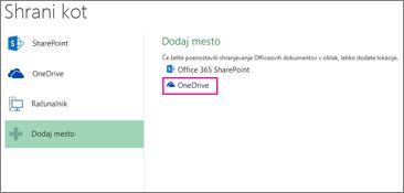 Možnost »Shrani v OneDrive«
