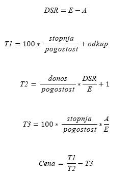 Formula PRICE, ko je N <= 1