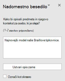 Podokno z besedo Win32 nadomestno besedilo za slike