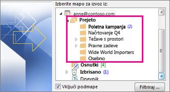 E-poštne mape
