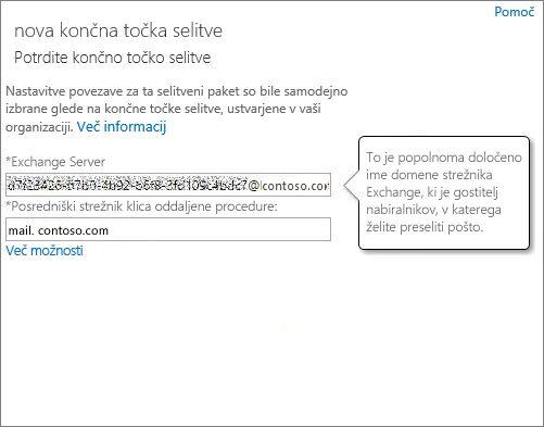 Potrjena povezava za končno točko funkcije Outlook Anywhere.