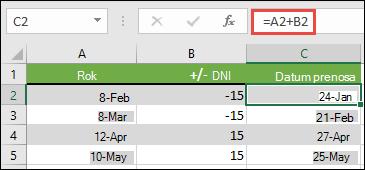 Dodajte ali odštejte dneve z datumom s = a2 + b2, kjer je a2 datum, in B2 je število dni, ki jih želite dodati ali odšteti.