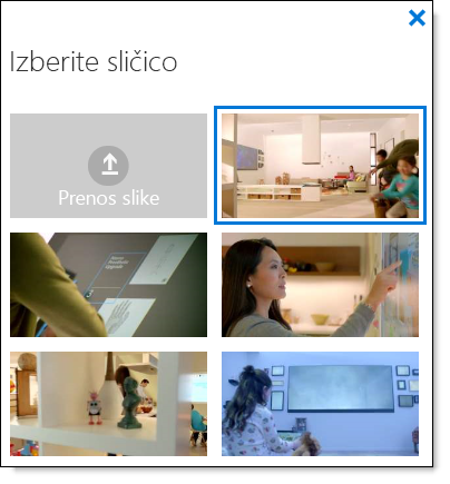 Office 365 Video izberite sličico