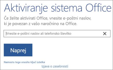 Prikaže okno »Aktiviranje sistema Office«