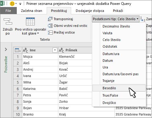 Okno dodatka Power Query z izbranim besedilom