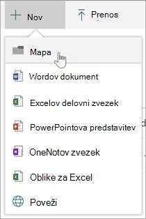 Nov meni z možnostjo nove mape